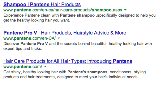 Example of web copy describing Pantene products